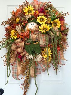 Scarecrow Fall Harvest Mesh Burlap Wreath by WilliamsFloral