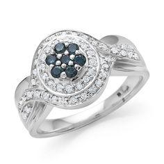 0.40 Carat Blue & White Diamond Ring in Sterling Silver #Netaya