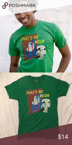 "Busted Tees Star Wars Goodnight Moon Mashup Shirt Green short sleeve t-shirt. Features a mash-up scene of Star Wars and Goodnight Moon with the words ""That's No Moon"" in yellow. VGUC. Pet Friendly + Smoke Free home. Busted Tees Shirts Tees - Short Sleeve"