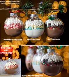 Hot cocoa ornaments. II might make a bunch of these, hang them on the tree, and then on Christmas morning tell everyone to pick one and make a cup!