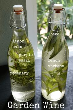 Garden Wine-I grabbed herbs from my garden – sage, rosemary, lemon balm, purple basil, and lemon verbena. Alcoholic Drinks, Beverages, Cocktails, Manger Healthy, Smoothies, Kitchen Witchery, Beltane, Wine Making, The Balm