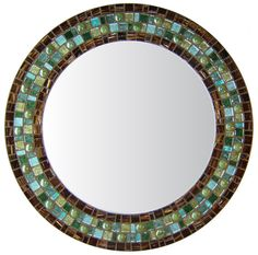 Opus Mosaic Mirrors Round Wall Mirror Custom Size Frame Tiger S Eye Brown Green Teal
