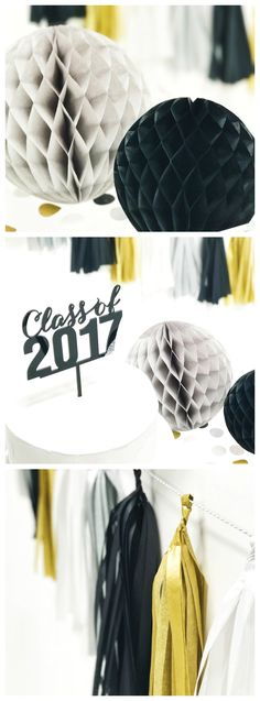 Black Tie Graduation Party-Maker Kit | Graduation Party Ideas | 24K Graduation Party Decorations | Grad Party Decor | Graduation Party Supplies for boys and girls | Decorations for a Graduation Party | Graduation Party Ideas for boys | Modern Graduation Party Ideas | Black, Gold, White, & Silver Graduation Party Decorations | Easy Graduation Ideas | Simple Graduation Party Packages
