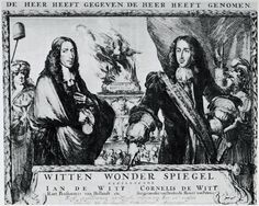 Dit zijn de Cornelis de Witt en Johan de Witt, hun waren goede vrienden van Michiel de Ruyter. Hun zijn vermoord door een boze menigte