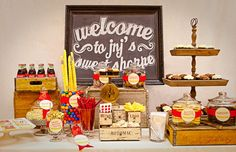 Love this for a Vintage Dessert Bar. Even the old glass Coke Bottles, Great Touch. Vintage Sweets, Vintage Candy, Retro Candy, Vintage Carnival, Candy Table, Candy Buffet, Lolly Buffet, Shake, Old Fashioned Candy