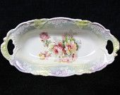 Vintage porcelain celery dish - early 1900's, Germany, floral decoration