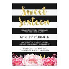 Sweet 16 Birthday Floral Gold Black White Stripes Card