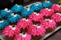 Blue & Pink Cookie Monster cupcakes by Charly's Bakery