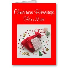 Bag of Christmas Blessings Christmas Card for Mum with sentimental verse by www.Krimbles.com #christmas #xmas #greetings