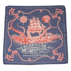 Scarti-Lab+Octopus+Cotton+Bandana+:+SUNSETSTAR Vintage Inspired Dresses, Vintage Outfits, Embroidery Scarf, Bandana Design, Red Wing Shoes, Cotton Bandanas, Vintage Graphic Design, Kerchief, Workout Accessories
