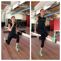 3. Switch Lunge with Kick Repeat for a total of 20 alternating leg with kicks.