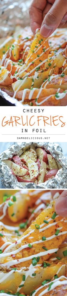 Cheesy Garlic Fries in Foil - The easiest, cheesiest fries you will ever make in foil packets, baked to absolute crisp perfection! (Maybe a neat camping food) I Love Food, Good Food, Yummy Food, Tasty, Potato Dishes, Food Dishes, Side Dishes, Potato Food, Side Dish Recipes