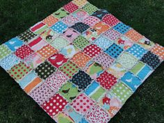 Rag quilts seem to be the new rage. This adorable and colorful baby rag quilt can be made into a picnic quilt as well. Rag quilts get their name from the frayed top and smooth back, getting softer with every washing.  All materials are 100% cotton. The end product is a unique and beautiful quilt that will last for a very long time! Check out Little Sunshine Quilts on Etsy https://www.etsy.com/listing/120313461/baby-rag-quilt-oh-deer-by-moda-birds
