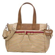 Babymel Cara Tote Diaper Bag - Tan Stripe | Designer Maternity www.duematernity.com