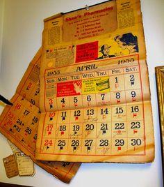 Vintage calendar from 1955 in the Bleecker Street Gant Rugger Store fitting room