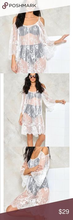 Cold Shoulder Cover Up Lace Cover Up. One Size. 100% Polyester Nasty Gal Swim Coverups