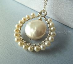 Coin pearl pendant. Would be pretty for earrings too.