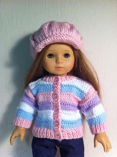 American Girl Doll clothes- knitted outfit in pastel Knitting Dolls Clothes, Ag Doll Clothes, Crochet Doll Clothes, Doll Clothes Patterns, American Girl Crochet, American Girl Diy, Knitted Doll Patterns, Knitted Dolls, Knitting Patterns