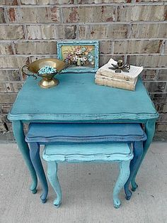 | ♕ | Shades of Turquoise - Painted Tables