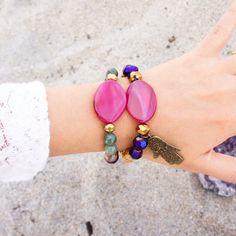 Achat  Hamsa Hand Armband  Armband aus Holz Perlen von AllGirlsneed