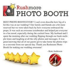 """What our customers are saying - """"BEST PHOTO BOOTH EVER! I can't even describe how big of a hit this was at our wedding! Our family and friends are a bit more reserved but we were taken back by how everyone embraced the props. It was such an awesome icreabreaker and helped put everyone in a fun mood, especially during the cocktail hour. Loved knowing that all of our guests got to take home the photos trips as a souvenir from our special day. Thanks for making our wedding awesome!"""" - Kate…"""