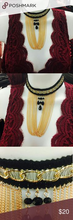 Lace Gold Chocker Statement Necklace BrandNew Brand new  Sexiest Fashion Chocker Statement Necklace  YELLOW GOLD PLATED and black lace Jewelry Necklaces