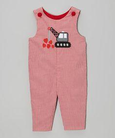 Look at this #zulilyfind! Red Crane Heart Overalls - Infant & Toddler by Stellybelly #zulilyfinds