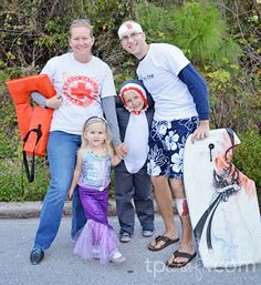TPcraft.com: Family Halloween Costume {lifeguard, surfer, shark & mermaid}