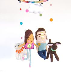 A Personalized Baby Mobile of the Wee One's Family :: Pink Cheek Studios via Etsy