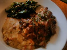 Wild Mushroom Stew with Pan fried Chicken, Red Pepper Basil Polenta and Garlicky Mixed Greens