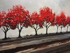 CUSTOM Original Art Abstract Painting Red Trees Large Textured Modern Autumn Fall Tree Landscape Canvas Wall Art-Christine - Christine Krainock Art - Contemporary Art by Christine - 5
