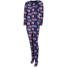 Must have these: New York Giants Ladies Scoreboard Union One-Piece Footed Sleeper Suit - Royal Blue