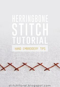 How to work herringbone stitch - Stitch Floral Embroidery Stitches Tutorial, Crewel Embroidery, Hand Embroidery Patterns, Embroidery Designs, Herringbone Stitch Tutorial, How To Shade, Casting On Stitches, Stitch Braids, Easy Stitch