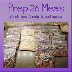 Guide to prepping 26 meals in the time it takes to make dinner, eat dinner, and put all the dishes away.