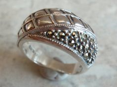 Judith Jack Sterling Marcasite Puffy Band Ring Size by cutterstone, $58.00