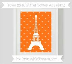 Pumpkin Orange Star Pattern  8x10 Eiffel Tower Art Print