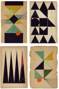 oskar fischinger graphics meet old yellowed book pages