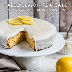 Paleo Lemon Tea Cake with Coconut & Lemon Frosting - The Healthy Patch