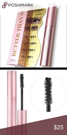 NWT Better than sex mascara NWT Better than sex mascara new with tags for full size mascara. NWT. This brand is Too Faced. NWT. Too Faced Makeup Mascara