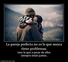 La pareja perfecta no es la que nunca tiene problemas, sino la que a pesar de ellos siempre están juntos.