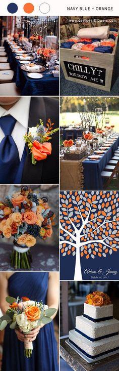 navy blue and orange fall wedding color combo ideas for 2018 #blueweding #weddingcolors #weddingideas / http://www.deerpearlflowers.com/navy-blue-wedding-color-combo-ideas/