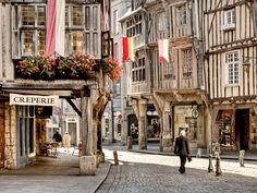 | ♕ |  Main street of Dinan, France  | by © Lucien Vatynan | via ysvoice