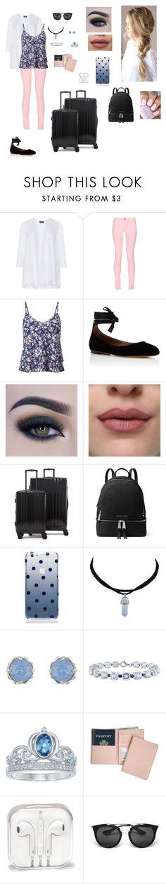 """""""My first adventure"""" by natalia-alve-niel ❤ liked on Polyvore featuring Maison Kitsuné, Miss Selfridge, Tabitha Simmons, Too Faced Cosmetics, CalPak, MICHAEL Michael Kors, Kate Spade, Accessorize, Disney and Royce Leather"""