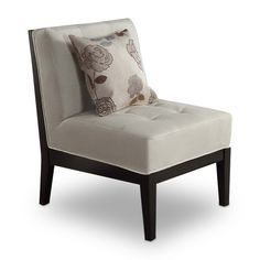 Bristol Ivory Armless Chair with Floral Accent Pillow