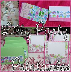 Free Lilly Pulitzer Party Printables: Invitation, Thank You, Label Tents, & Guestbook from Hello Kirsti