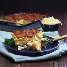 Macaroni & Cheese Quiche with Latticed Bacon - three food favorites come together to create this fabulous dish. Mac 'n Cheese, Quiche and Crispy Bacon. YUM! Simply Sated