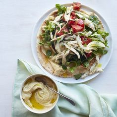 These quick chicken pitas are bright and healthy! Recipe: Mediterranean Chicken Pitas  - Delish.com