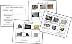 Rocks and the Rock Cycle: Sedimentary, Metamorphic and Igneous Rock Activities - Homeschool Den Science Worksheets, Science Lessons, Worksheets For Kids, Science Projects, Grammar Worksheets, Fair Projects, Third Grade Science, Middle School Science, Science Classroom