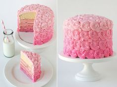 pink ombre cake.