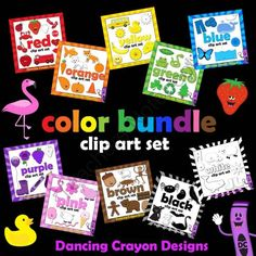 Color Clip Art: Set of Color Clipart from Dancing_Crayon_Designs on TeachersNotebook.com (144 pages)  - Colorful clip art set with images of things that are different colors.
